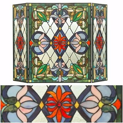 Fireplace Stained Glass Screen Tiffany Hand Crafted 3 Panel Portable Decorative