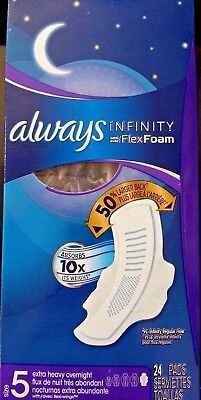 (6 Pack) Always Infinity Extra Heavy Overnight Pads w/ Flexi Wings, 24 Ct