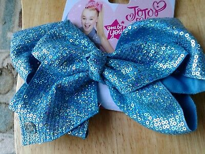 New Aqua Sparkly Jojo Silva  Clip Hair Bow , Hard To Find