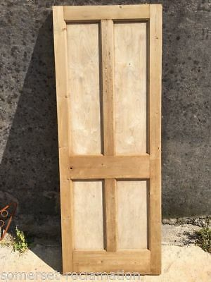 "29 3/4""x77 3/4"" Reclaimed 1930s Stripped Pine Four Panel 2 Over 2 Internal Door"