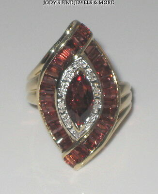 EXQUISITE ESTATE 14K YELLOW GOLD BAGUETTE MARQUISE GARNET DIAMOND RING Size 6.25