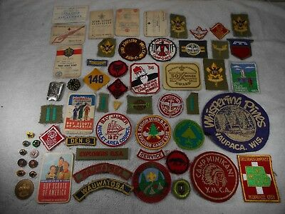 Lot of 58 Vintage 1950's Boy Scout Badges, Patches, Pins, Cards, Coin, Etc.