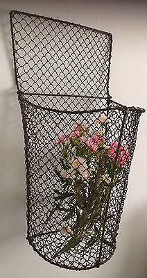 RARE Large Tall Vintage Wire French Bakery Baguette Bread Basket