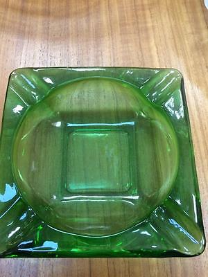 Vintage Retro 1970S Green Glass Large Ashtray 15Cm X 15Cm Mens Bar Mancave