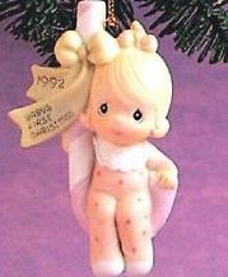 """Precious Moments Ornament """"baby's First Christmas 1992 ~ Girl"""" * Free Shipping *"""