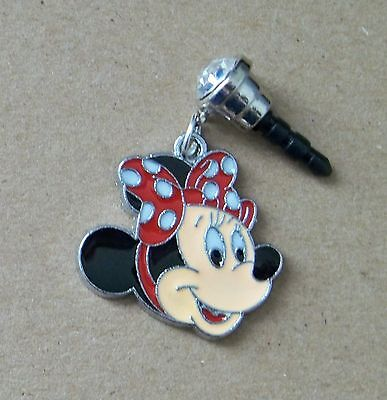 Cell Phone Anti Dust Plug Cover Rhinestone Dangle Charm Minnie Mouse Face