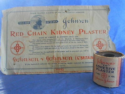 vintage Johnson Red Chain Kidney Plaster pckt, directions +'ZO' Adhesive Plaster