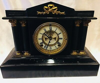 "Ansonia ""boston Extra"" Iron Chime Mantle Clock ~ Open Escapement~ Running"
