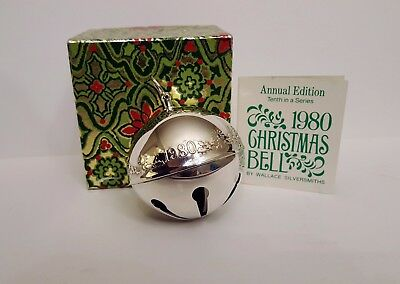 Wallace 1980 Silver-Plated Sleigh Bell Annual Christmas Ornament 10th Series