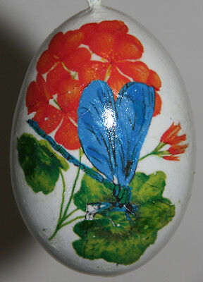 gourd garden or Christmas ornament with dragonfly and geranium