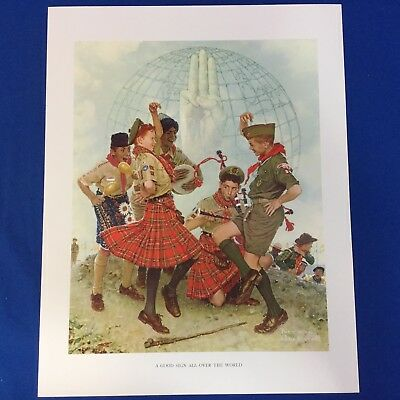"Norman Rockwell Boy Scout Print 11""x14"" A Good Sign All Over The World"