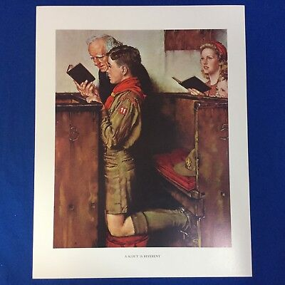 "Norman Rockwell Boy Scout Print 11""x14"" A Scout Is Reverent"
