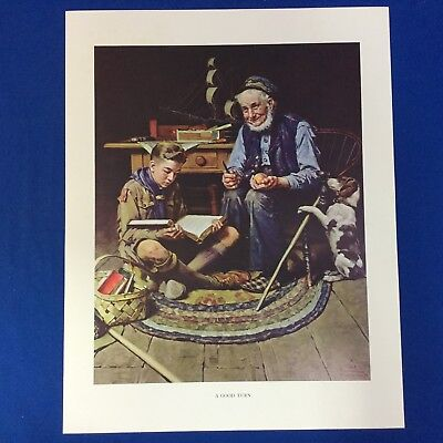 "Norman Rockwell Boy Scout Print 11""x14"" A Good Turn"