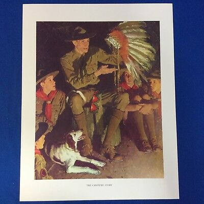 "Norman Rockwell Boy Scout Print 11""x14"" The Campfire Story"