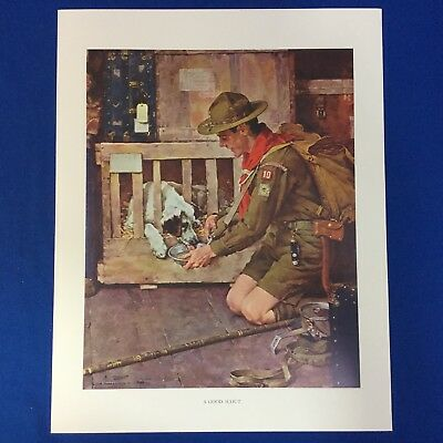 "Norman Rockwell Boy Scout Print 11""x14"" A Good Scout  (With Dog)"