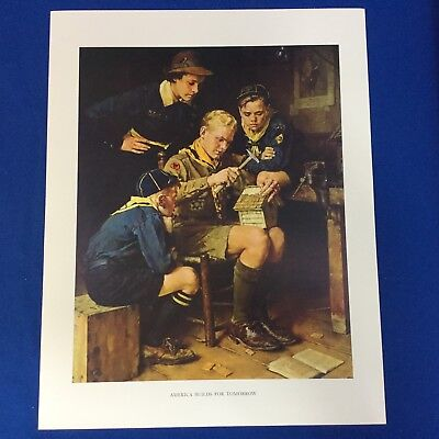 "Norman Rockwell Boy Scout Print 11""x14"" America Builds For Tomorrow"