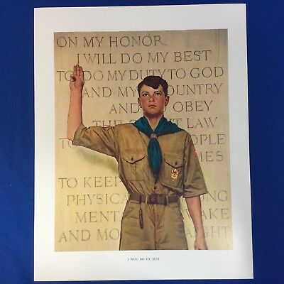 "Norman Rockwell Boy Scout Print 11""x14"" I Will Do My Best"