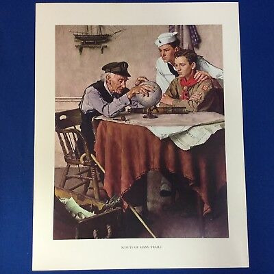 "Norman Rockwell Boy Scout Print 11""x14"" Scouts Of Many Trails"