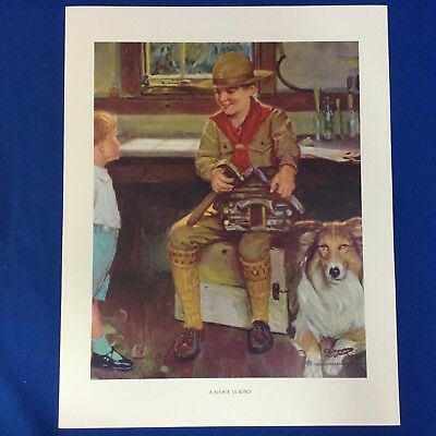 "Norman Rockwell Boy Scout Print 11""x14"" A Scout Is Kind"