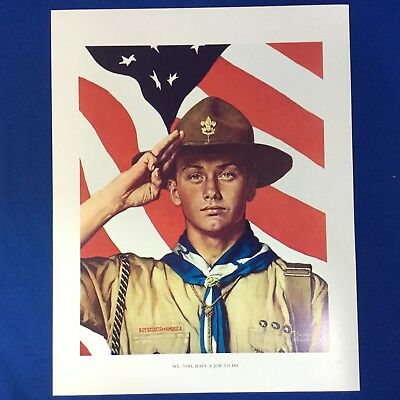 "Norman Rockwell Boy Scout Print 11""x14"" We Too Have A Job To Do"