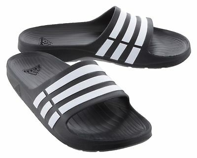 promo code 34b70 6e5f0 NWT ADIDAS Duramo Slides BlackWhite G15890 Flip Flops Pool Beach Shower  Shoes