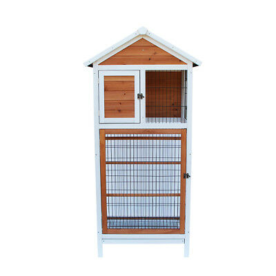 Bird Cage Play House Parakeet Canary Wooden Cockatiel Finch Conure Pet Supply