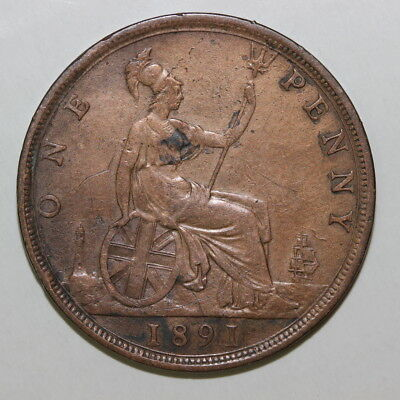 UK Great Britain penny 1891 (MG162)