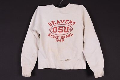 Vtg 1965 Oregon State Osu Beavers Rose Bowl Sweatshirt Youth Size Medium