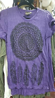 Fun funky purple cotton 'dreamcatcher' lightweight unisex T-Shirt Sz M~$23.95