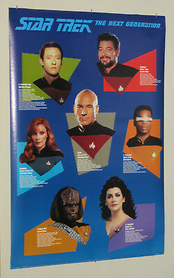 1992 Star Trek The Next Generation TNG 36 by 24 inch poster 1: Picard/Riker/Worf