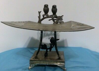 Antique Derby Silver Owls Butterfly Calling Card Receiver