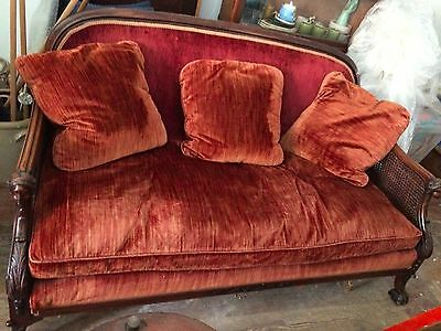 Victorian Estate Sofa Couch Carved Arms*paw Feet*down Cushions*cane Side