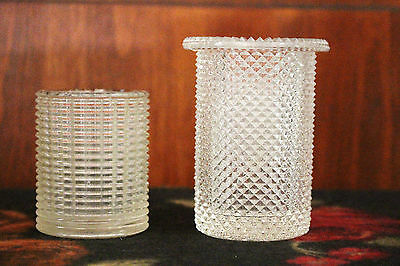 2 VINTAGE ANTIQUE GLASS CANDLE WARMERS, heavy glass, patterned, Exc condition