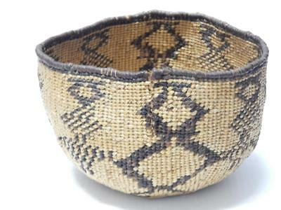 Vintage Antique California Hat Creek Indian Basket -Very Old Patina+Complex Dsgn
