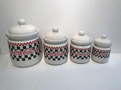 4 Piece Coca Cola 1996 ~ Canister set with Checker board design ~ Gibson China