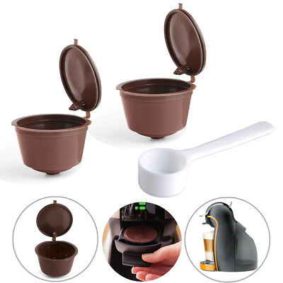 2~4 Reusable Refillable Coffee Capsules Pods Cup + Spoon for Nescafe DOLCE GUSTO