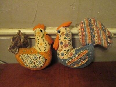 Vintage quilted Decorative stuffed plush chicken Hen Rooster country cottage