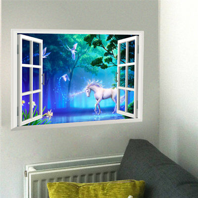 3D Effect decal Window View Unicorn decor flying horse Wall Sticker