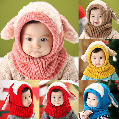 New Winter Toddler Baby Kids Warm Hat Girls Boys Hooded Scarf Beanie Hats Cap