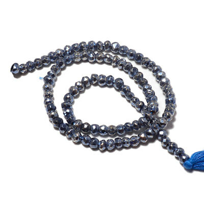 Coated Blue Pyrite Rondelle Faceted Beads/3.5mm To 4mm Beads/14 Inch Strand/M116