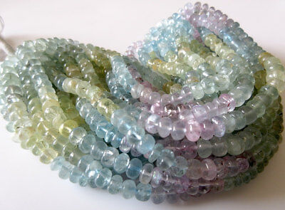 Natural Aquamarine Smooth Rondelle Bead Pink Blue Yellow 7mm 18 Inch Strand 2869