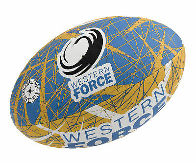 Western Force Gilbert Rugby Ball Original Full Size 5 w Free Hand Pump