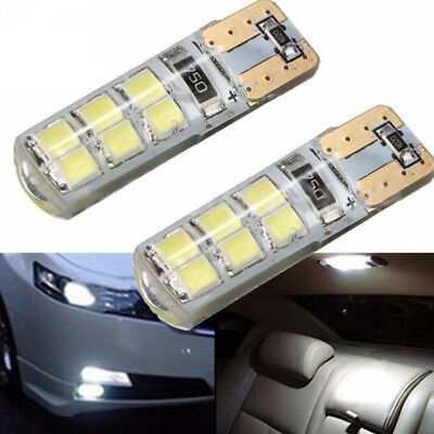 10X T10 2835 12SMD LED CANBUS Silicone Super Bright White Light Bulbs 12V W5W