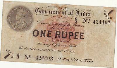 """British India KG V Re 1,McWatters , 1917 ,  prefix """" S """" rayed star/open star"""
