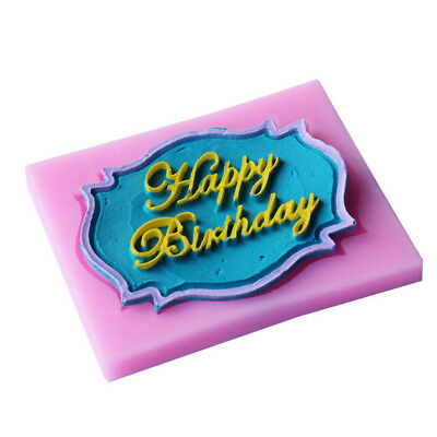 Happy Birthday silicone mold chocolate fondant cake decor Tools baking utensil -