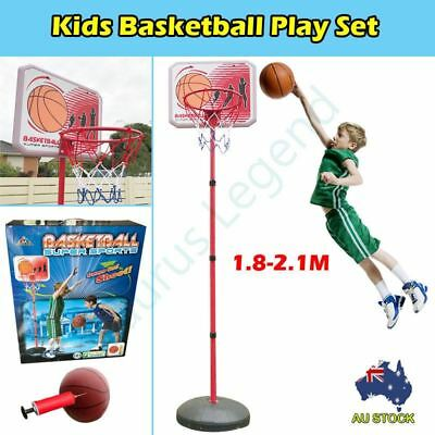 Outdoor Portable Basketball BackBoard Kit 2.1M Adjustable Basket Ring Kids Gift