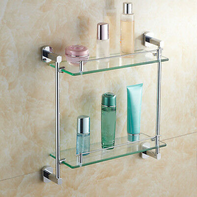 Double Glass Shelf Shower Bathroom Stainless steel Rack Storage Wall-mounted