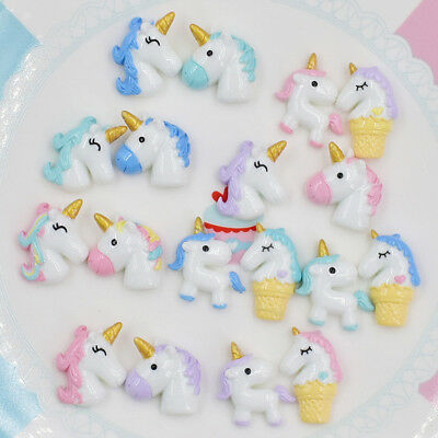 2PCS Cartoon Unicorn Resin DIY Mobile Phone Headdress Craft Accessories Decor