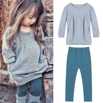 US 2pcs/set Toddler Kids Baby Girls Long Sleeve Clothes Tops + Pants Outfits New