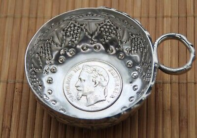 Antique 800 solid silver   French Wine taster - Tastevin   Napoleon III
